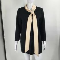 Smythe Womens Shirt Dress Black Beige Mini Long Sleeve Knit Wool Career 12 Photo