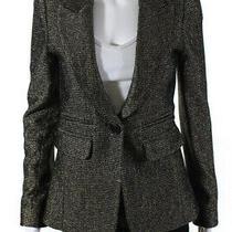 Smythe Womens Single Button Closure Peaked Lapel Blazer Gold Black Size 4 Photo