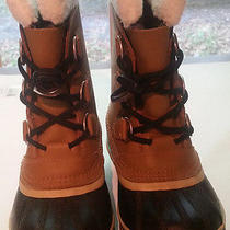 Snow Boots Size 2 Youth Caribou Hand Crafted Water Proof Natural Rubber Sorel  Photo