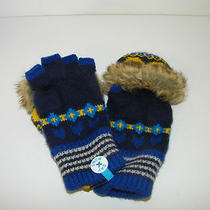 Snow Day Gloves Hues of Blue Fingerless Mittens Pop Up Faux Fur Brand New Photo