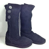 Snuggly & Fun Pair of Ugg Black Knit Cardy Boots 7  Photo