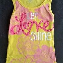 So Girls Yellow Floral Ribbed Sparkle Knit Tank Top Shirt  Let Love Shine Sz 7 8 Photo