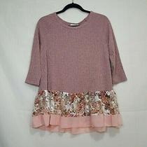 So Perla Ruffle Hem Ribbed Flowy Top Blush Pink Size M Floral Hem 3/4 Sleeves Photo