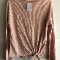 Socialite Blush Pullover Sweater With Tie and Bell Sleeves Size Small Photo