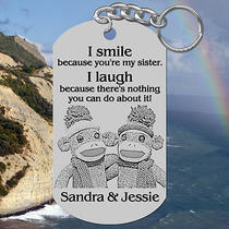 Sock Monkeys Sisters Keychain Gift With Names Personalized Free Fun Photo