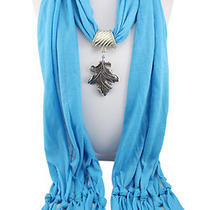 Soft Cotton Pashmina Shawl Alloy Maple Leaf Pendant Necklace Wrap Jewelry Scarf Photo