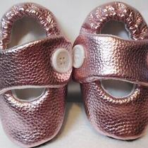 Soft Crib Shoe - Baby Girl -  Faux Leather  - Rose Gold - 6 -12 Months New Photo