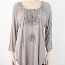 Soft Joie Anzu Top Dolphin Grey Tab Sleeves Lace L 188 6734a Bml -Minor Flaw Photo