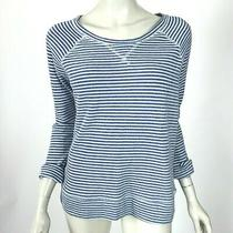 Soft Joie Emma Striped French Terry Sweater Top Blue 3/4 Sleeve Cotton Women Xs Photo