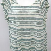 Soft Joie Womens See Through Cream With Green Strips Shirt Size Large Photo