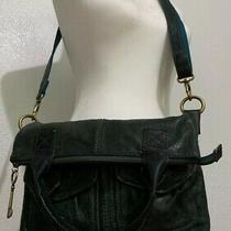 Soft Squishy Lamb Leather Fossil Cargo Fold Over Crossbody Bag Green Tote Purse Photo