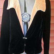 Soft Surroundings Black and Blush Velvet Jacket - S Photo
