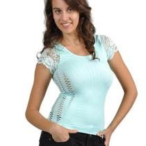 Soho Apparel Girls Seamless Side Cutouts Lace Sleeve Top Sg-T051 Aqua One Size Photo