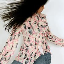 Sold Out h&m Trend Conscious Frill Front Bird Print Blouse Shirt Uk 10 36 6  Photo