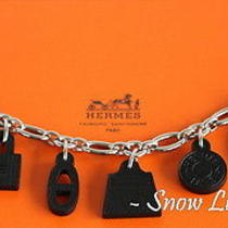 Sold Out Hermes Amulet Icon Motifs Leather Palladium Bag Charm Bracelet Noir Photo