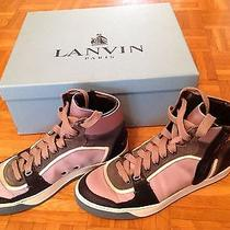 Sold Out Like New With Box Lanvin Hi-Tops Zip Sneakers 850   Photo