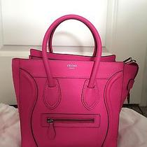 Sold Out Rare Authentic Celine Micro Luggage Fluo Pink Neon Bag Drummed Photo