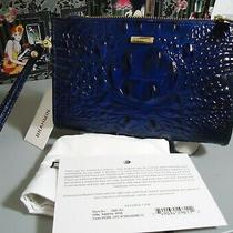 Soldout Brahmin Sapphire Blue Daisy Melbourne Leather Wristlet Firm No Offers Photo