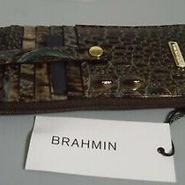 Soldout Nwt Brahmin Chicory Melbourne Brown Turquoise Credit Card Wallet Photo