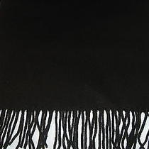 Solid Black Fringed 100% Lambs Wool Scarf Photo