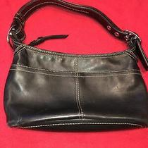 Solid Black Leather Coach Handbag Purse Shoulder Strap Zipper Excellent Photo