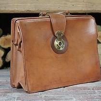Solid English Coach Hide Leather Tan Briefcase Lawyers Bag Photo