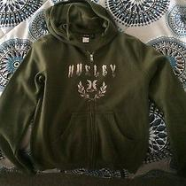 Solid Large Green Hurley Zip Up Hoodie Photo