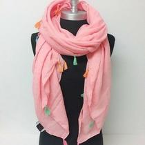 Solid Light Square Scarf With Tassels Shawl Wrap Beach Bikini Cover Up Blush Photo