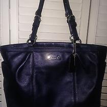 Solid Navy Blue Coach Leather Medium Tote Handbag 398 Reduced Photo