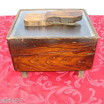 Solid Wood Shoe- Shine Box Hand Made Sqaure  Photo