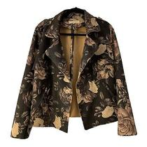 Solitaire Anthropologie Faux Suede Jacket Size Large Floral Womens Boho Rose Photo