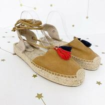Soludos Espadrilles Size 9 Tan Suede Tassels Ankle Wrap Flat Shoes Closed Toe Photo