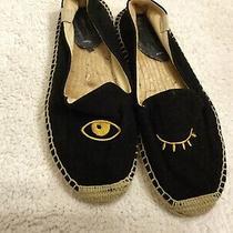 Soludos Jason Polan Eye Wink Espadrille Canvas Flats Size 7 Black Photo