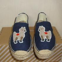 Soludos Llama Platform Smoking Slipper Espadrilles Midnight Blue Women's Size 11 Photo