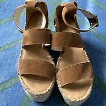 Soludos Sz 9 Palma Suede Espadrille Wedge Sandal Platform Walnut Ankle Strap New Photo