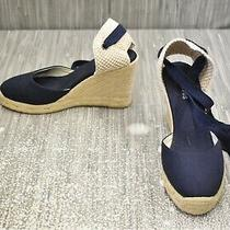 Soludos Tall Wedge Espadrille Sandal Women's Size 5.5 Navy Photo