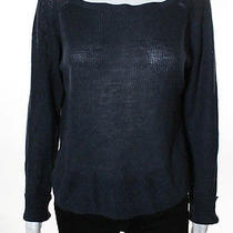 Something Else by Natalie Wood Blue Linen Solid Print Long Sleeve Sweater Sz 6 Photo