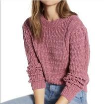 Something Navy Women's Knit Long Sleeve Blush Pink Linen Sweater Size Small Photo