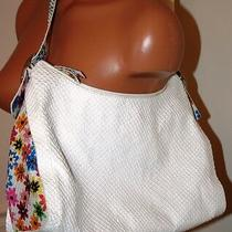Sondra Roberts Snake Embossed Leather Hobo Bag White Floral Purse 260 M Photo