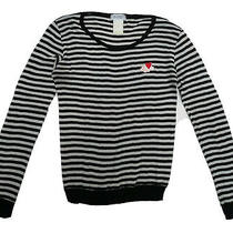 Sonia by Sonia Rykiel Striped Black & White Wool / Cotton Jumper With Motif Xs Photo