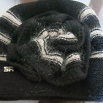 Sonia Rykiel Black and Grey Striped Mohair Womens Hat Photo