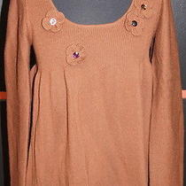 Sonia Rykiel Brown Wool Sweater W/flower Accent Collar & Gem Embellishments Lg. Photo
