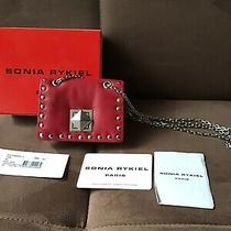 Sonia Rykiel Nwb Necklace Bag Red Leather With Studs Crossbody Chain 115 Photo