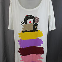Sonia Rykiel Nwot Ivory Graphic Print Short Sleeve Tunic Top Size M Photo