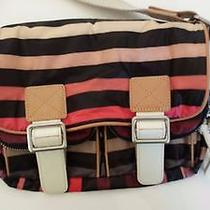 Sonia Rykiel Striped Purse Handbag Nylon Leather Trim - Fun Photo