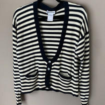 Sonia Rykiel Women's Navy & Cream 100% Cotton Striped Cardigan Sweater Medium Photo