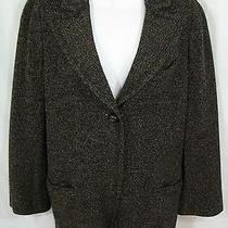 Sonie Rykiel Size 44 12 Us Wool Blend Black Tan Tweed One Button Jacket Blazer Photo