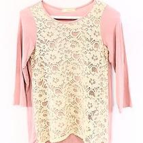 Soprano New Big Girls Size Large L Solid Blush Pink Ivory Lace Panel Blouse Photo