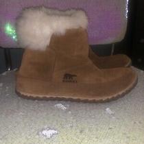 Sorel 6.5 Women's Boots Faux Fur Moc Tan Suede Thinsulate Comfort Winter Photo