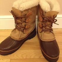 Sorel Alpine Womens Snow Winter Boots Size 9 Leather Insulated Brown Tan Lined Photo